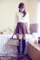 ivory vintage blouse - eggshell tapestry vintage purse