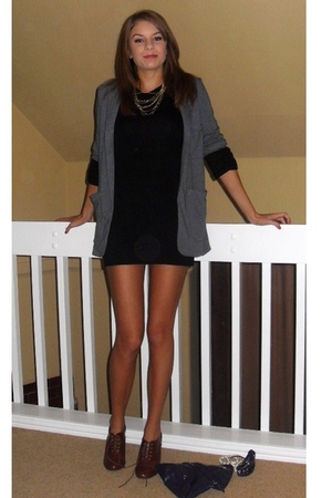 gray Topshop blazer - black Topshop dress - brown H&M boots