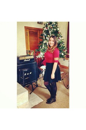 black JCPenney boots - ruby red PacSun shirt - black Forever 21 skirt