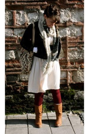camel vintage boots - light pink H&M dress - denim jacket Levis jacket