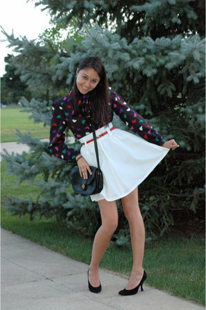 black vintage blouse - white vintage skirt - red vintage belt - black vintage Co