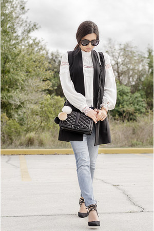 Chicwish blouse - Rebecca Minkoff bag - Nordstrom vest - Karen Walker glasses