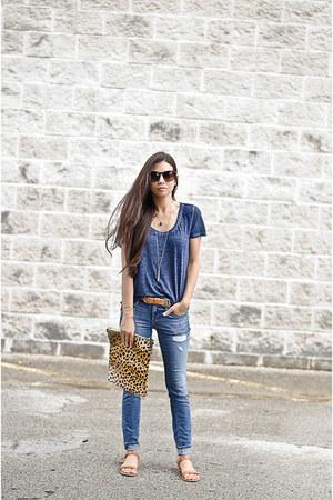 Nordstrom t-shirt - Loft jeans - Clare V purse - lof sandals