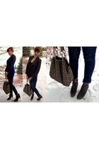 blue wool Yoana Baraschi blazer - charcoal gray suede franco sarto boots