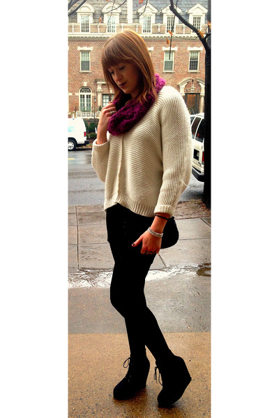 black wedges Target boots - off white wool vintage sweater