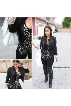 lace Talula blouse - skinny jeans Guess jeans - denim jacket Burberry jacket