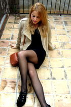 black H&M dress - beige Bimba&Lola jacket - brown Bimba&Lola purse - black Mango