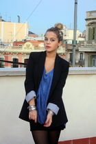 black Zara blazer - blue H&M shirt - black Zara skirt - silver vintage accessori