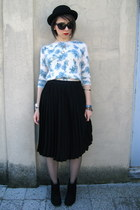 vintage hat - Mango skirt - Zara blouse
