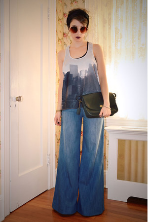 blue flared Anthropologie pants - black vintage Coach bag - white H&amp;M top