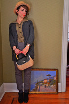 thrifted bag - I heart ronson blouse - Guess pants - Urban Outfitters cardigan