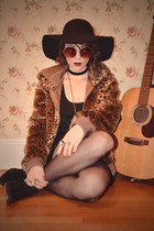 burnt orange leopard print Urban Outfitters jacket - black seychelles boots