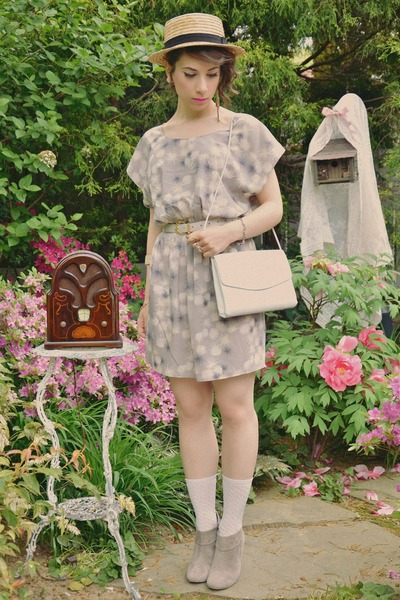 heather gray Urban Outfitters boots - periwinkle Urban Outfitters dress - white