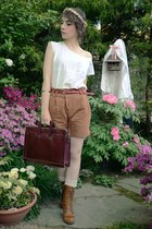 tawny Urban Outfitters boots - dark brown briefcase dads bag - brown H&M shorts