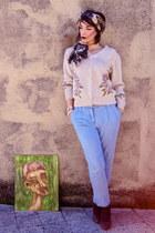 H&M scarf - vintage cardigan - H&M pants