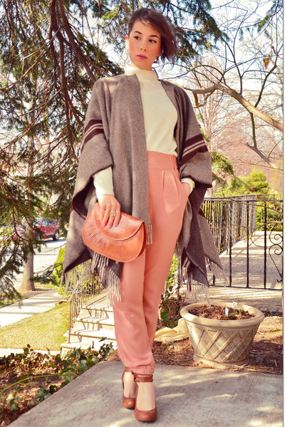 thrifted sweater - vintage bag - H&M pants - Zara cape