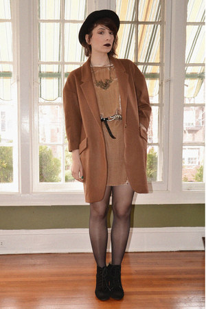 camel velvet Zara dress - brown oversized Anthropologie coat - black H&M bag