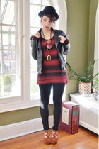 black faux leather romwe jacket - ruby red Urban Outfitters sweater