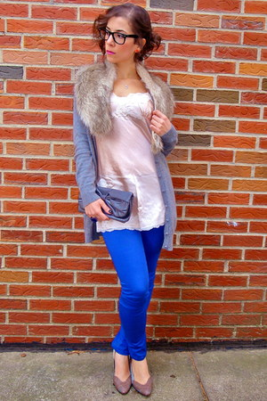 faux fur H&M scarf - clutch Primark bag - Express blouse - H&M pants