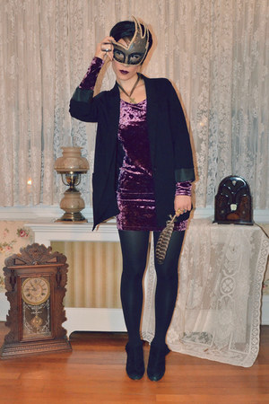 seychelles boots - crushed velvet H&M dress - H&M blazer