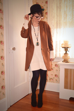 tawny oversized Anthropologie coat - off white sweater H&M dress