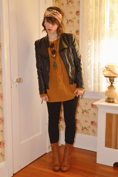 black faux leather romwe jacket - mustard Urban Outfitters sweater