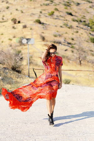 carrot orange roberto cavalli dress - black ASH boots