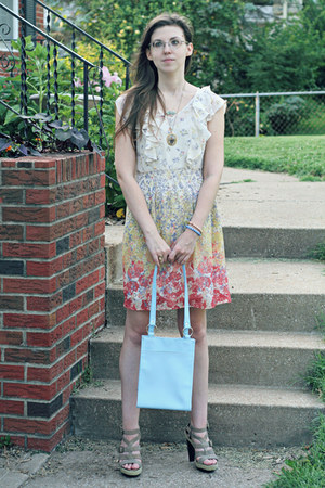 off white floral print LC Lauren Conrad dress - periwinkle bag
