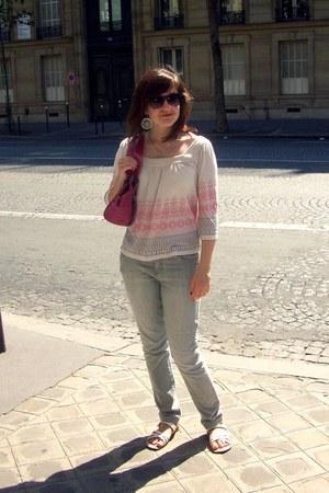 light pink La Redoute top - periwinkle La Redoute jeans - hot pink Debenhams bag