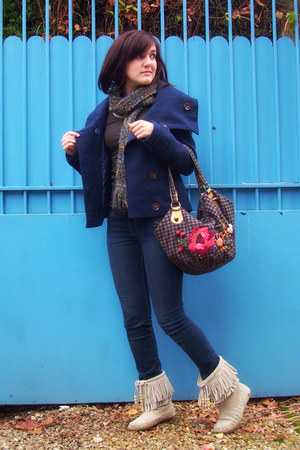 camel Accessorize boots - navy Pimkie coat - dark brown Accessorize bag