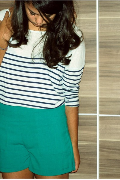 navy blouse - teal shorts