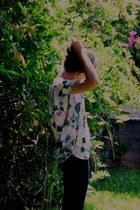ivory flower H&M blouse