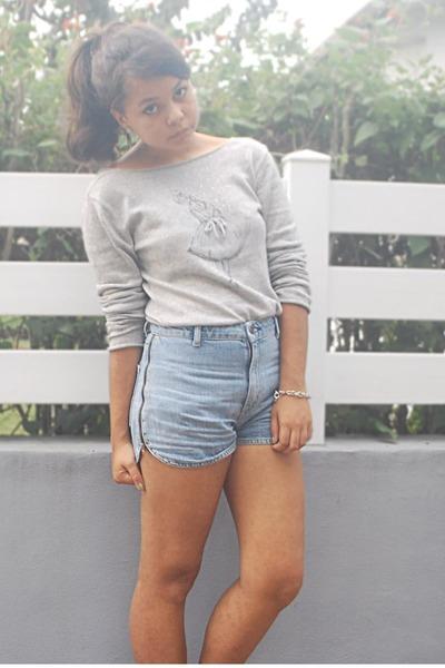 teal Topshop shorts - silver a balley dancer sweater