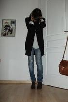 black Zara cardigan - blue Zara jeans - brown Lily Shoes shoes - white Bershka s