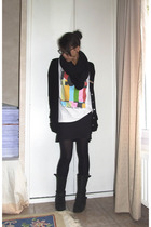 Zara jacket - Glamourous kills t-shirt - aa scarf - somewhere boots