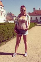 light blue Zara shorts - white H&M blazer - bubble gum Topshop top