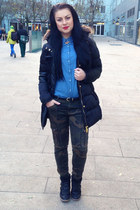 black New Yorker coat - blue Tally Weijl shirt - army green Zara pants