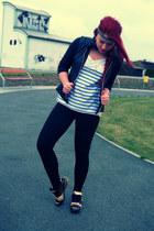 white Zara t-shirt - black adidas shoes - black H&M jacket - black Zara leggings
