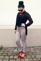 black lindex shirt - red Wild World Shop necklace - beige hm pants