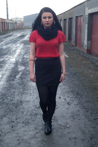 black Choies boots - black hm skirt - red Zara t-shirt