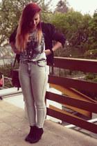 wedges - black H&M jacket - ivory H&M pants - black Tally Weijl heels