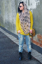 yellow Zara sweater - black H&M boots - sky blue New Yorker jeans