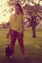 red Zara pants - yellow Zara top - bronze Mixer clogs