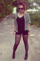 black H&M shorts - black Promod top - black H&M heels
