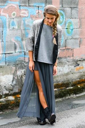 Zara skirt - H by Hudson boots - Zara sweater - sequins Zara blazer