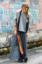 Zara skirt - H by Hudson boots - Zara sweater - sequins Zara blazer