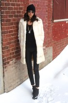 fur vintage coat - Nordstrom hat - faux leather Zara pants