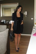 Theory blazer - black Indigo dress - Cue belt - brown Prada bag - vintage shorts