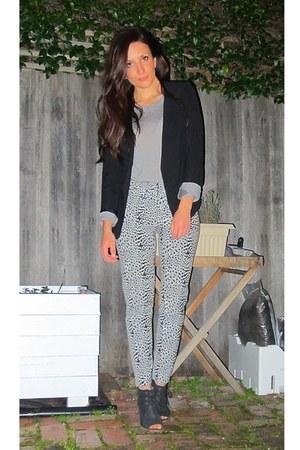 leopard print Topshop pants - Topshop blazer - boutique Topshop top