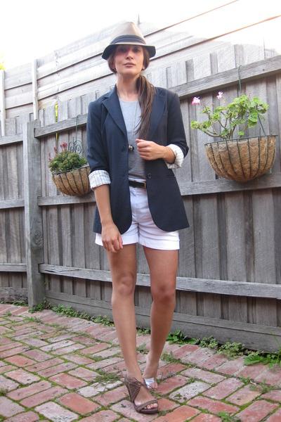 brown fedora hat - Theory blazer - Saba shorts - Armani Exchange belt